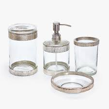 glass bathroom accessories. GLASS AND METAL BATHROOM SET Glass Bathroom Accessories I