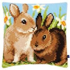 <b>Vervaco</b>® Two Rabbits Pillow Cover Needlepoint <b>Kit</b> $34.99 ...