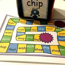 Shirt, shark, shorts, chicken, cherries, shapes, chair, chin. Ch Sh Th Digraph Games