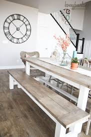 farmhouse dining table with bench and natural wood top design