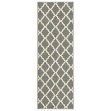 glamour collection contemporary moroccan trellis gray 2 ft x 6 ft kids runner rug