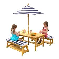 kidkraft outdoor table bench set with cushions umbrella navy white stripes com
