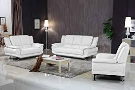 milano contemporary leather sofa set white