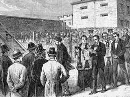 this ilration entitled the march to depicts molly maguire members on the way to the gallows in pottsville pennsylvania corbis