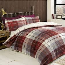 rapport lomond check 100 percent brushed cotton duvet set red double on on