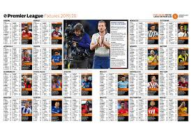 Football League Table Wall Chart Premier League Fixtures 2019 20 Wallchart Download Our