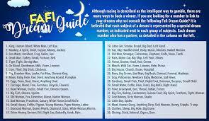 Fafi Numbers Chart Dream Guide Fafi Numbers Chart