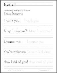Writing Practice Worksheet Basic Etiquette Handwriting Worksheet Student Handouts