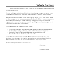 Retail Cover Letter Sample Leading Professional Assistant Store Manager Cover Letter