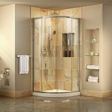 dreamline prime white acrylic floor round 2 piece corner shower kit actual 74 75