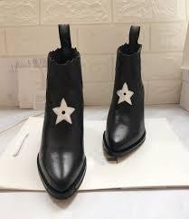 Designer Black Booties Us 95 0 30 Off Women Winter Black Ankle Boots Star Fashion Genuine Leather Luxury Designer Chelsea Booties Slip On Ladies Shoes Botas Mujer On