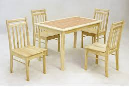 Rubberwood Kitchen Table Wooden Dining Table And 4 Chairs Solid Rubberwood With Tiled Top