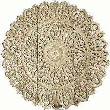 Balinese wall art is a style unto itself. Amazon Com Medallion Bali Lotus Wood Carved Wall Panel Asian Wall Art Home Decor 36 Set Of 3 White Wash Home Kitchen