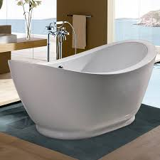 aquatica purescape acrylic high gloss white oval freestanding bathtub with center drain common 34