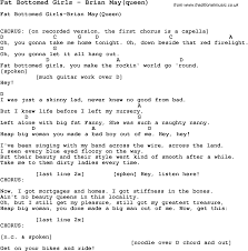 Lyrics fat bottom girls queen