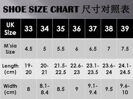 Spiral Shoes Shoe Size Guide