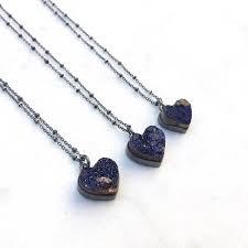 druzy heart necklace raw stone necklace rough azurite stone pendant dark blue stone