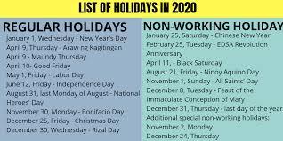 list of philippine holidays 2020