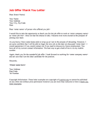 Job Offer Thank You Letter Thank You Letter For Job Offer Opportunity Edit Fill Out