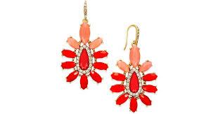 lyst abs by allen schwartz gold tone orange stone chandelier earrings in red