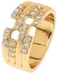 tiered gold band ring with swarovski crystals