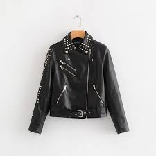 women fashion letters appliques black rivet short leather jacket autumn long sleeve stand collar coats tops femme n447 basic jackets basic jackets