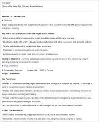 8 Sample Project Coordinator Resumes Sample Templates