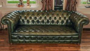 Vintage Green Leather Chesterfield Sofa 2