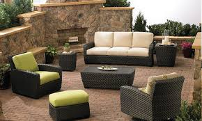 exterior furniture discount outdoor furniture modern outdoor furniture with green and peach color and rattan frame with fireplace on the side fantastic Discount Patio Furniture Product satisfactory Di