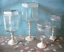 4 apothecary wedding candy buffet jars ivory white bar pedestal event planning glass jar set