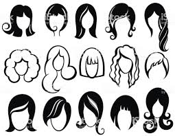 髪型のシルエット女性女の子女性の髪美容ベクトルかつらシンボル