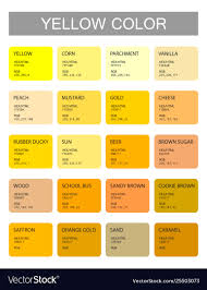 Shades Of Yellow Color Chart Yellow Color Codes And Names Selection Colors
