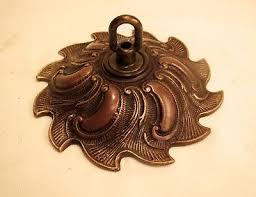 unusual wide vintage brass bronze chandelier ceiling canopy cap antique