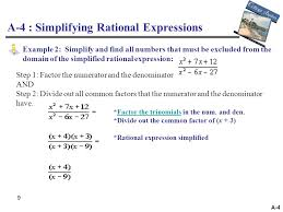 a 4 simplifying rational expressions