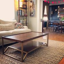 onzaga mid century modern brass walnut coffee table