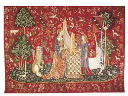 the lady and the organ ii european tapestry wall hanging h x w