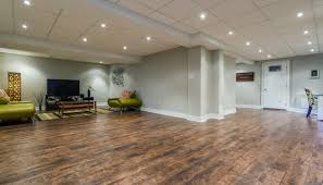 a finished basement with stunning hardwood floors