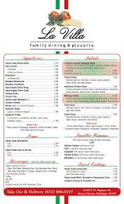 Check out the full menu for crush. Full Menu La Villa Family Dining Pizzeria