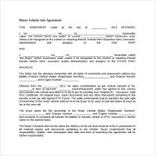 Purchase Agreement Vehicle Printable Vehicle Purchase Agreement Cycling Studio