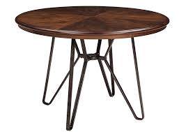 langlois furniture. centiar twotone brown round dining room tablesignature design by ashley langlois furniture