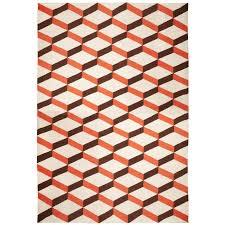 lorenzo reversible peruvian llama flat weave orange rug   x