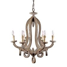 6 Light Candle Chandelier 6 Light Candle Style Antique Wooden Chandelier