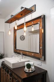 Rustic Bathroom Vanity Lights Interesting Rustic Industrial Light Steel And Barn Wood Vanity Light Etsy