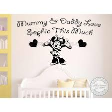 personalised nursery wall sticker minnie mouse bedroom playroom decor decal mummy daddy love this much