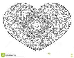 zentangle black and white decorative heart vector ilration