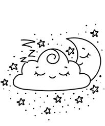 Disegno Di Luna Crescente E Nuvola Kawaii Da Colorare Disegni Da