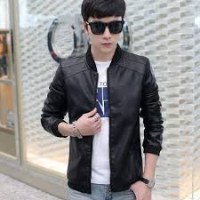 harga korean style men s slim fit jackets stand collar motorcycle outwear coats men pu leather casual