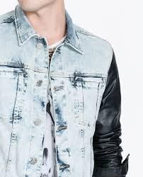 denim jacket with faux leather sleeves zara cairoamani com