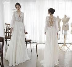 flowy wedding dresses. Discount 2018 Bohemian Wedding Dress Backless Chiffon Long Sleeve