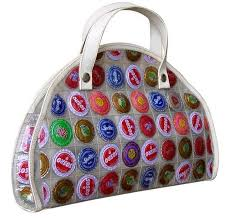Handbag clutch purse made using recycled bottle top tops reclaimed materials,  post consumer, eco friendly green environmental
